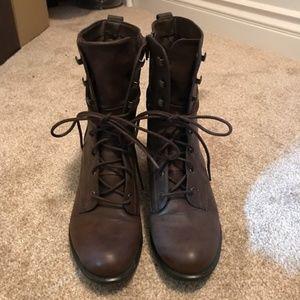 Brown Heeled Combat booties